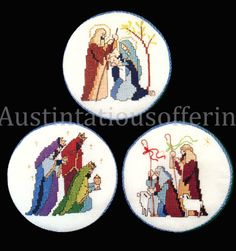 Rare Avery HolyFamily WisemenShepherds CrossStitch Ornaments Kit Vintage Rare Needlework Kits - Contemporary Stitchery Crafts