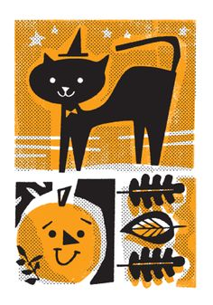 Halloween / Mid-Century Cat / Holiday Cards from L2 Design Collective