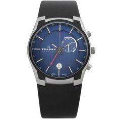 Skagen Mens Black Leather Blue Dial Watch - 853XLSLN