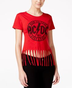 Fringe trim and a rocker-chic graphic print make this T-shirt from Hybrid a must-have. | Cotton/polyester | Machine washable | Imported | Crew neckline  | Pullover styling | Short sleeves | Graphic pr