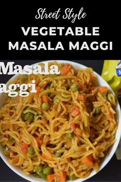 29 reviews · 20 minutes · Serves 2 · Today I'm sharing my favorite variation of Maggi, Spicy Vegetable Masala Maggi or Maggi Masala Noodles. This Mumbai Street Style Veg Masala Maggi recipe is a new way to add colorful vegetables and few spices to the regular maggi recipe and make it into a healthy dish. Maggi Recipes, Spicy Recipes, Cooking Recipes, Veg Food Recipes, Veg Recipes Video, Cabbage Soup Recipes, Snacks Recipes, Noodle Recipes, Vegetable Masala