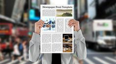 Become a columnist and present your important news.  Prezi Template with a classic newspaper concept.  A businessman holding a newspaper on a 3D busy street background.  Includes separated elements, use the blank paper or choose between example layouts.  Design your own newspaper and change the background image.