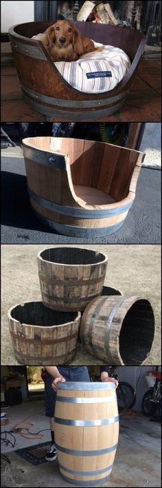 DIY Dog Beds - DIY Wine Barrel Dog Bed - Projects and Ideas for Large, Medium and Small Dogs. Cute and Easy No Sew Crafts for Your Pets. Pallet, Crate, PVC and End Table Dog Bed Tutorials http://diyjoy.com/diy-dog-beds