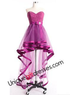 A-line/Princess Sweetheart Hi-lo Tulle Lace Detachable Skirt Prom Dresses With Sash Beads Bow