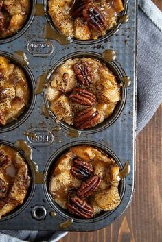 Mini Pecan Pie Bread Pudding Muffins | You'll love this easy bread pudding recipe!