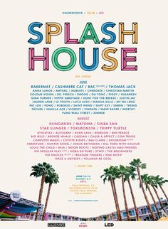 Splash House Music Festival 2015 Lineup Poster in Palm Springs CA