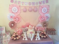 DIY pink and ivory baby shower decorations