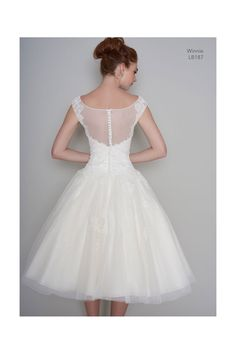 Loulou WINNIE Tea Length 1950s Vintage Style Short Wedding Dress In Lace & Polka Dot & Cap Sleeve