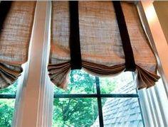 burlap curtain with black ribbon