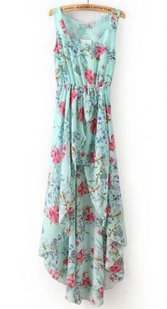 Pretty Round Neck Sleeveless Print High Low Dress