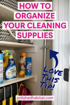 Looking for the perfect storage solutions and organizing ideas for cleaning supplies and the vacuum? Try this hack of turning your coat closet into a cleaning closet! # cleaning supplies organization How to Organize Cleaning Supplies Storing Cleaning Supplies, Cleaning Supply Storage, Vacuum Storage, Cleaning Closet, Bathroom Cleaning, Cleaning Hacks, Broom Storage, Organized Bathroom, Daily Cleaning