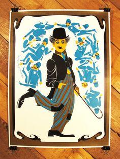 Original Vintage Charlie Chaplin Pop Art by VintageEarlyBirds