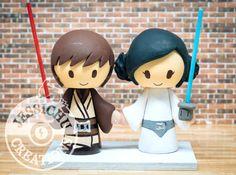 Jedi & Princess Leia Bride Custom Wedding Cake Topper