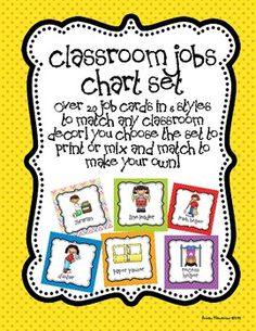 **Updated with additional jobs (including caboose!) and 6 new designs to match any classroom!**This Classroom Jobs Set is perfect for managing all of your little helpers! $5.00