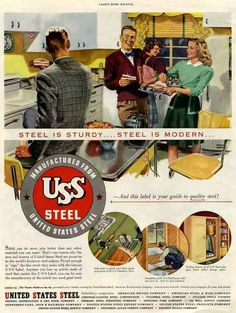 My Forum for steel kitchen cabinets from & beyond - Retro Renovation Retro Ads, Vintage Advertisements, Vintage Ads, Vintage Posters, 1940s Kitchen, Vintage Kitchen, Metal Kitchen Cabinets, 1940s Home, Retro Renovation