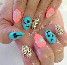 Nail art Christmas - the festive spirit on the nails. Over 70 creative ideas and tutorials - My Nails Summer Stiletto Nails, Summer Acrylic Nails, Summer Nails, Essie, Summer Vacation Nails, Vacation Ideas, Nails Opi, Diy Nails, Hawaii Nails