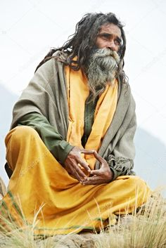 Indian old monk sadhu in saffron color clothing . Sadhus India, Old Monk, Baba Image, Love And Respect, Hinduism, Pilgrimage, Royalty Free Stock Photos, People, Portraits