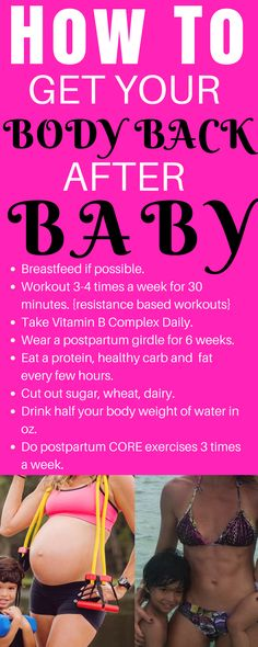How To Get Your Body Back After Baby.  Easy steps no matter where you are postpartum within a year.