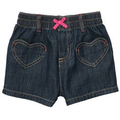 Pull-On Woven Shorts with Neon Bow