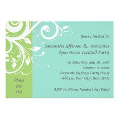 Green and Blue Swirl Corporate Party Invitation