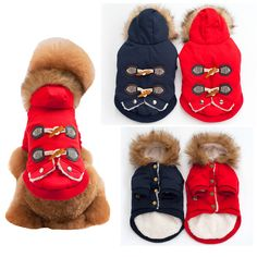 FH09 Winter Warm Dog Cotton padded Clothes Small Dogs Horn Buttons Classic Pet Cat Coat Jacket Costume Clothing For Chihuahua