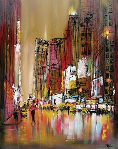 Top Drawing: amazing painting by Paul Kenton Skyline Painting, City Painting, Cityscape Art, Urban Landscape, Landscape Art, Paul Kenton, Amazing Paintings, Building Art, A Level Art