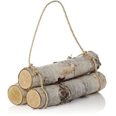 Crate & Barrel Set of 3 Birch Logs (€18) ❤ liked on Polyvore featuring home, home decor, fireplace accessories, filler, fireplace, nature, decor, crate and barrel, birch home decor and log home decor