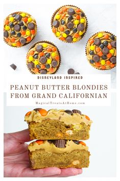 Peanut butter lovers will enjoy this quick, one bowl, easy to make Peanut Butter Blondies inspired by those found at the Grand Californian Hotel in Disneyland. Thick peanut butter blondies are topped with peanut butter icing and studded with peanut butter and chocolate candies. A beautifully fall hued dessert you can enjoy all year round. // magicaltreatsathome.com #disneyeats #disneycopycatreceipe #disneytreats #GCH #disneyland #disneyfoodie #peanutbutter #blondies #peanutbutterrecipes
