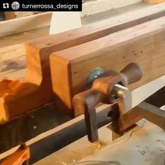 #tbt to this poor quality video of one of the first tools I gave birth to, a moxon vise.  inspired by @theskinnyjoiner, I made this out of reclaimed chestnut (softer wood so it doesn't mar the wood i'm working with) and with mesquite handles and washers. it still surprises me today how nicely this came out. I absolutely loooove the handles.  #woodworking #chestnut #mesquite #handtools #reclaimed #handmade #customwoodworking #moxonvise #vise #turnerrossadesigns