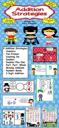 ON SALE NOW! Your children will turn into math superheroes after completing these 9 Addition Strategies Learning Centers. Math Worksheets, Math Resources, Math Activities, Superhero Classroom, Math Classroom, 1st Grade Math, Second Grade, Math Night, Math Lessons