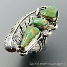 We are working hard to find and present rare pieces at amazing prices! Turquoise Rings, Vintage Turquoise, Green Turquoise, Vintage Silver Jewelry, Feather Ring, Cowgirl Bling, American Indian Jewelry, Silver Work, Southwest Jewelry