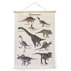 Schoolplaat DinosaurusEen prachtige blikvanger voor aan de muur! Deze nieuwe schoolplaat met dinosaurussen in een vintage jasje! Gedrukt met eco vriendelijke inkt en gelamineerd Inclusief houten stokken De schoolplaat wordt opgerold en dich