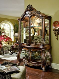 4 Doors and Shelves Lighted Interior Wood Noble Bark Finish Curio
