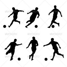 Buy Soccer, football players silhouettes by Dvarg on GraphicRiver. Illustration on white background Soccer Pro, Kids Soccer, Football Players, Soccer Ball, Soccer Silhouette, Silhouette Vector, Football Poses, Soccer Banquet, Sports Advertising