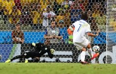 Giorgos Samaras of Greece scores the winning second goal on a penalty kick past Boubacar Barry of the Ivory Coast during the 2014 FIFA World Cup Brazil Group C match between Greece and the Ivory Coast at Castelao, June 24 in Fortaleza, Brazil. (Michael Steele/Getty Images)