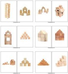 Bouwtafel: Fotokaarten voor het nabouwen met kleine blokjes.