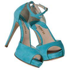 Le Silla Turquoise Suede Platform Peep-Toe Sandals ❤ liked on Polyvore