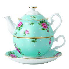 Royal Albert China New Country Roses Polka Blue Tea for One, White #RoyalAlbert