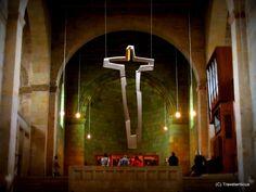 Modern crucifix at century church in Quedlinburg, Germany Saxony Anhalt, Rhineland Palatinate, Lower Saxony, North Rhine Westphalia, 11th Century, Crucifix, Germany, Country, Modern