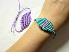 Macrame tutorial - The rhombus pattern bracelet - YouTube