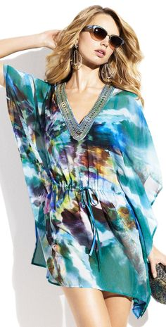 Badgley Mischka 2014 Celeste Beaded Tunic BM543-GRN | Southbeachswimsuits