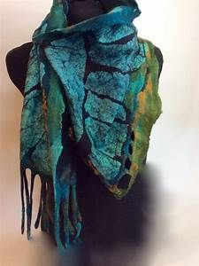 Felt Scarf, nuno felt, teal, brown, coral, handcrafted, silk, wool, one of a kind, homemade ...