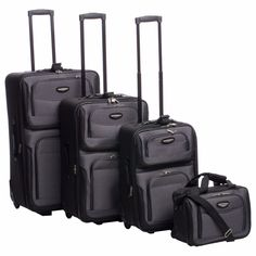4 Pc Rolling Luggage Set XL To Small Expandable Dual Top Lots Of Extras Travels #Travel