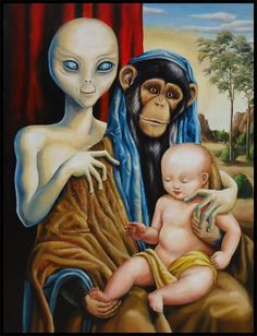 alien monkey baby painting - Google Search