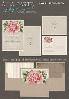 Peony Wedding Invitation and RSVP Postcard - Elegant rustic wedding invitation set