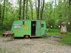 Lo-Liner at Marengo IL Rally May 2010.  Our campsite. No shower house at MR so we brought our own. A $25 showerhouse that doubles at night as the bathroom.