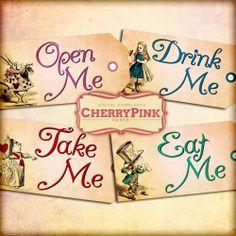 Alice Vintage Tags Set 3 Alice in Wonderland by CherryPinkPrints, $4.00