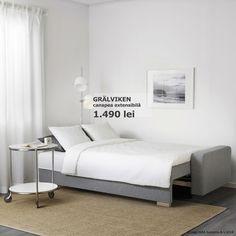 Cu ajutorul cardului IKEA FAMILY te poți bucura de reduceri de până la 20% la toate canapelele! Canapeaua GRÄLVIKEN se poate transforma în câțiva pași într-un pat confortabil și spațios. În plus, poți folosi spațiul de depozitare pentru lenjeriile de pat în plus. Oferta este valabilă până pe 17 iunie, în limita stocului disponibil. Ikea, Modern, Furniture, Home Decor, Trendy Tree, Decoration Home, Ikea Co, Room Decor, Home Furnishings