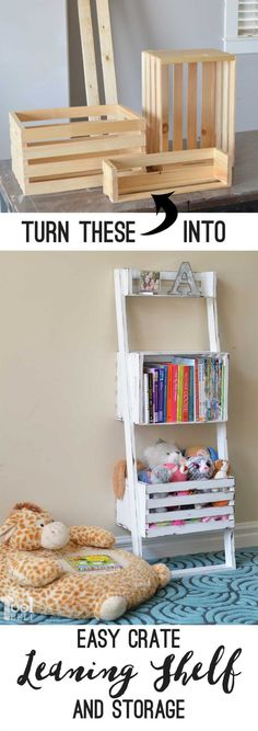 Oh this would be super easy to make. Build a leaning shelf with crates, perfect to help organize kids bedrooms. Free building plans.
