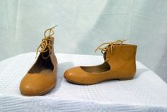 Varsavia-Viamara-Mary-Jane-Style-Ankle-Tie-Flat-Solid-Mustard-Shoe-Size-6M